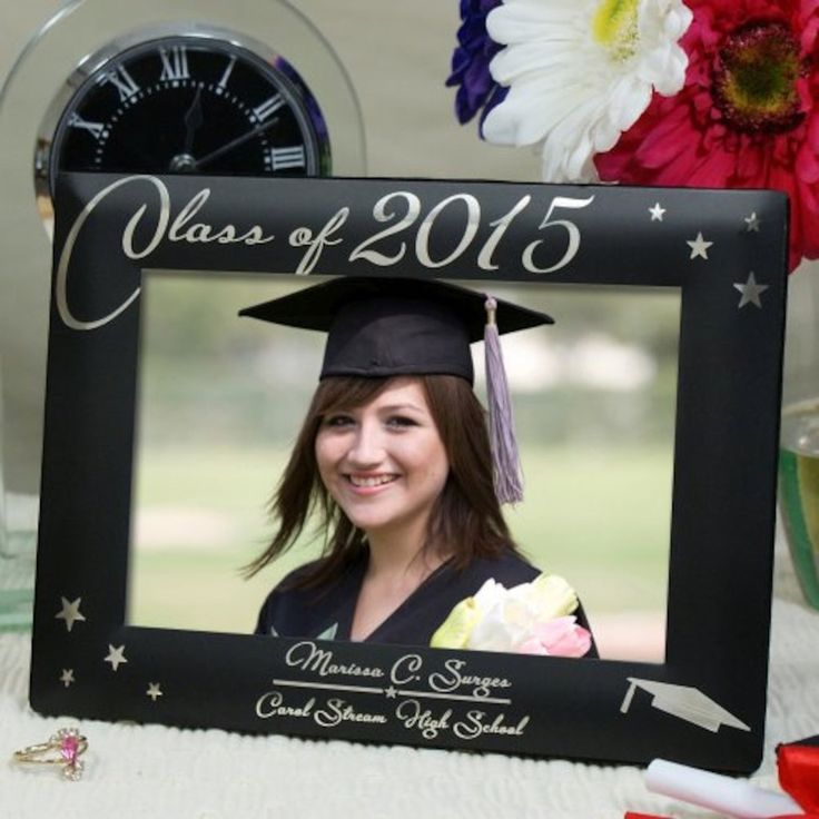 Personalized Engraved Black Graduation Picture Frame - Gifts Happen Here