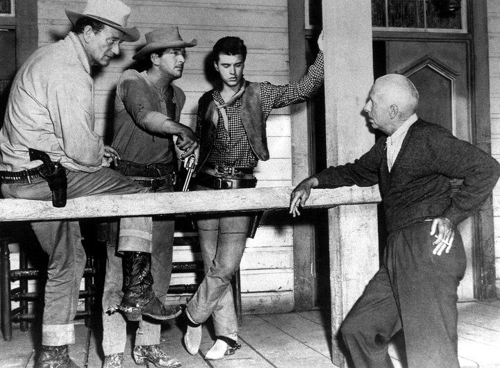 John Wayne, Dean Martin, Ricky Nelson & Howard Hawks on the set of 'Rio Bravo' (1959)