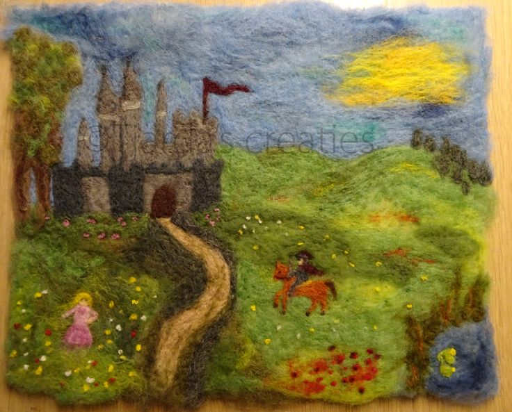 Naaldvilt schilderij kasteel, prinses en ridder te paard