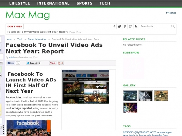 FB to launch video ads in first half of next year
