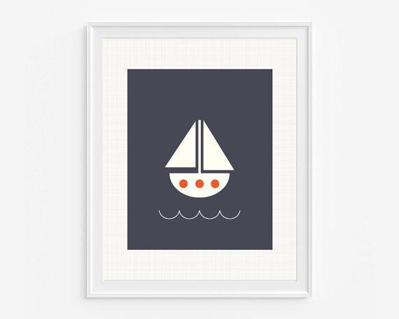 Sailboat nursery giclee print Nautical by LittleIvysPlayhouse