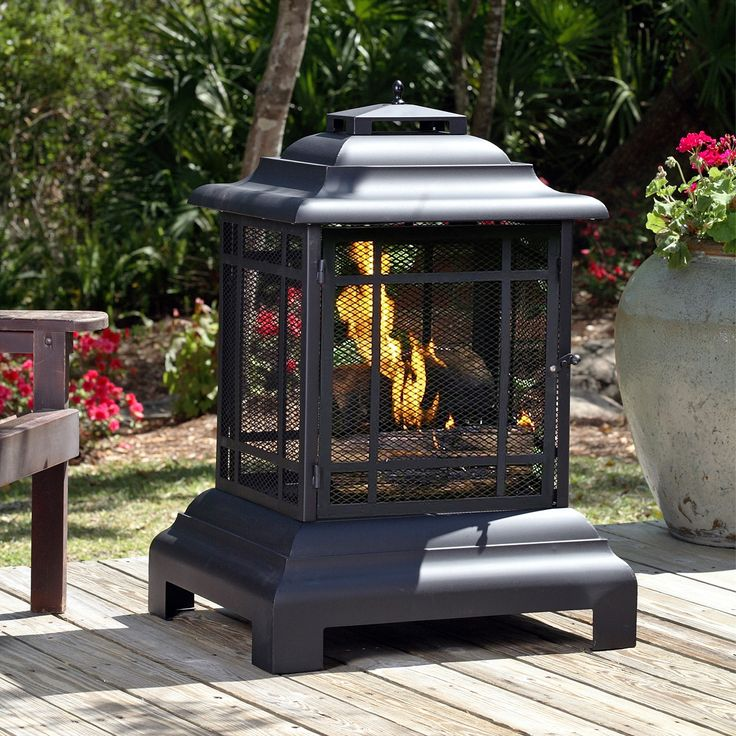 Features:  -Fire tool included.  -Pagoda patio fireplace.  -Unique decorative design.  Product Type: -Pagoda.  Finish: -Black.  Base Material: -Steel.  Hardware Material: -Steel.  Fuel Type: -Charcoal