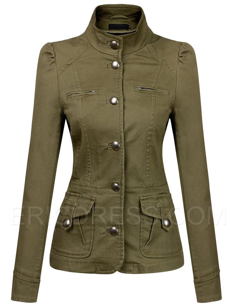 Ericdress Stand Collar Single-Breasted Jacket Jackets