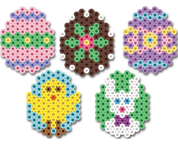Small Hama Beads Easter Eggs pattern, would work really well with the mini Hama beads too