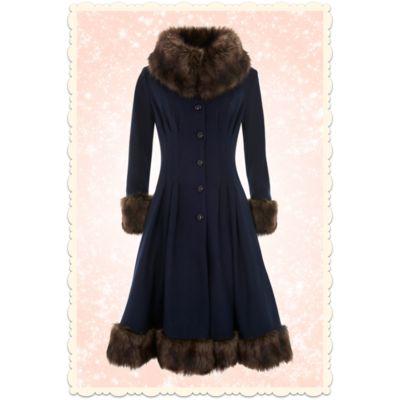 Manteau Couture Vintage années 30 Pearl laine bleu marine