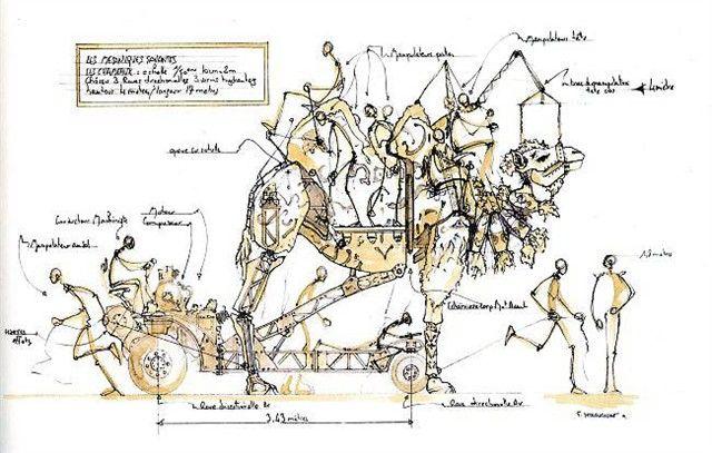 L'ouvrage qui paraît chez Actes Sud présente les projets actuels de François Delarozière, comme ce chameau de quatre mètres de hauteur. Plusieurs grandes villes du monde sont intéressées par ces machines. Croquis  François Delarozière