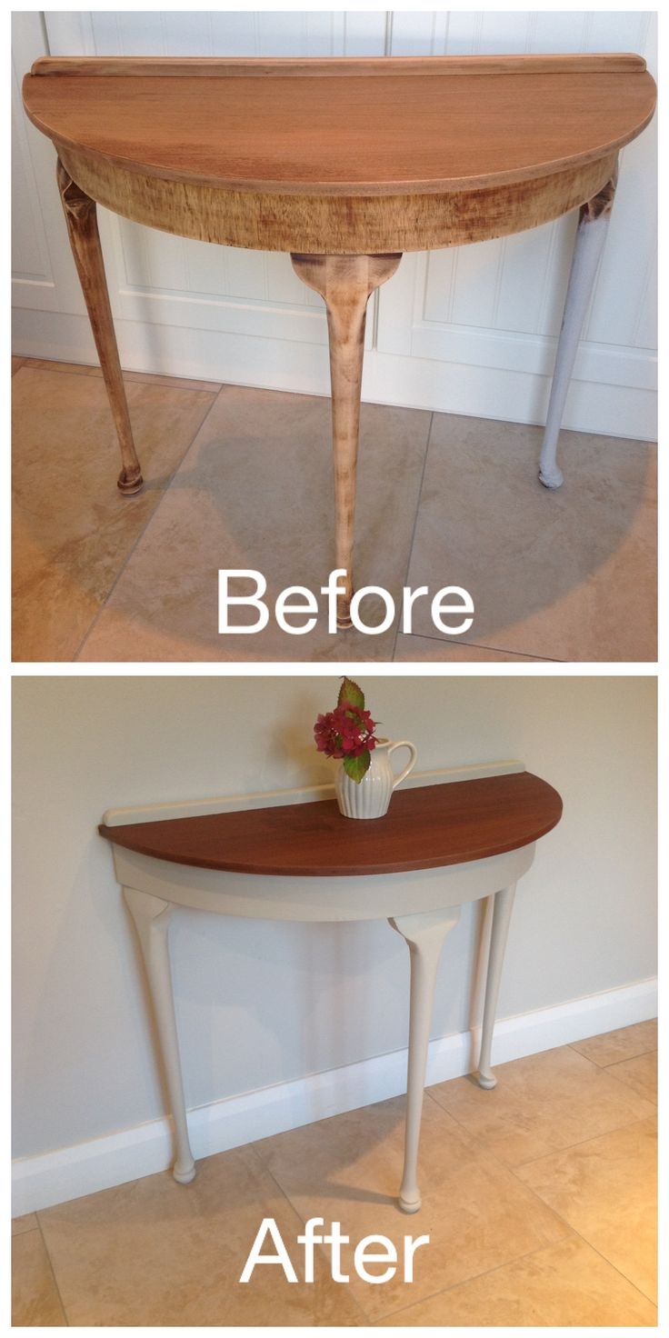 Mahogany half moon table painted in Autentico Almond chalk paint. Table top dark waxed and clear wax on legs.