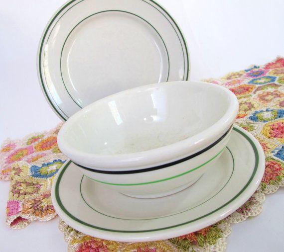 2 Small Plates One Bowl Green Stripe Restaurant Ware