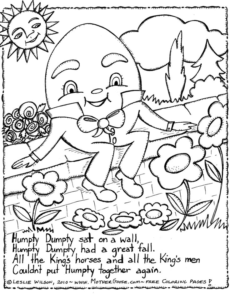 Humpty Dumpty, Kids' rhymes to colour. Free colouring pages