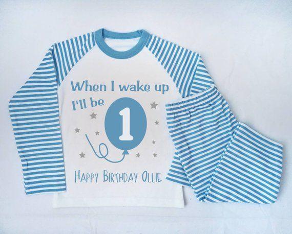 Personalised When I wake up Ill be One Birthday Pyjamas First Birthday Personalised Name Pjs Girls Personalised Pyjamas
