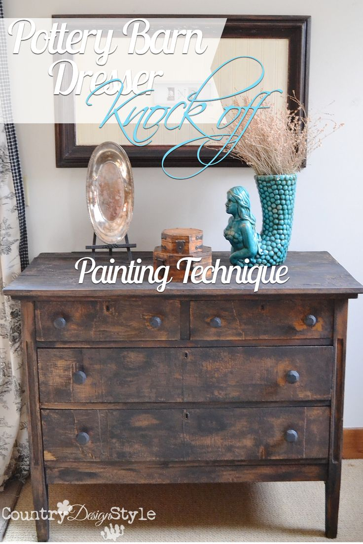Want an easy distressing painting technique?  This was easy, fast and used just over 2 ounces of chalkie paint!  http://countrydesignstyle.com