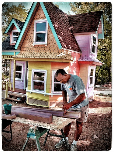 Man Building a Victorian Playhouse for his Granddaughters II