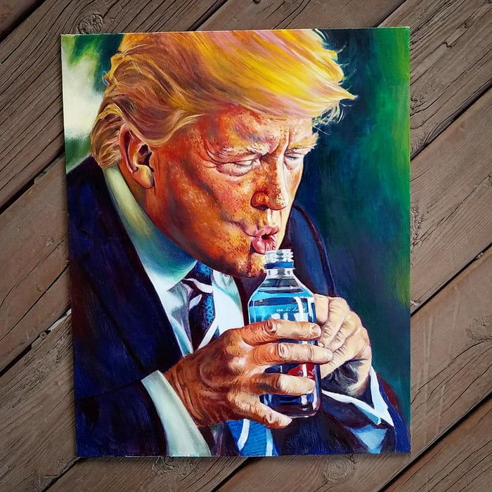 I Painted Trump Trying To Drink Water Funny Wall Art Stay Hydrated Funny Art