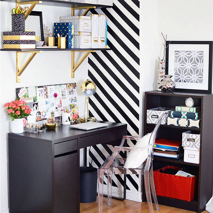 Nice office with black & gold accents.