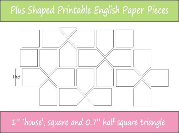1 finished size Printable English Paper Piecing Pieces for Plus shaped patterns ready for instant download.  These are perfect for the sewer who wants to be able to print and cut her EPP pieces at any time, once you have downloaded this file you have it for reprinting whenever you wish.  This pack of printable sheets includes the following shapes: - house - 1 inch - square - 1 inch  - half square triangle - 0.7 inch  These templates are also available in 2 inch size.  If you require these…