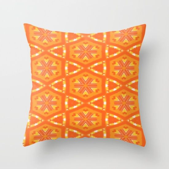 Orange and Yellow Throw Pillow, a stylish statement that will liven up any room. design by Celeste of Khoncepts