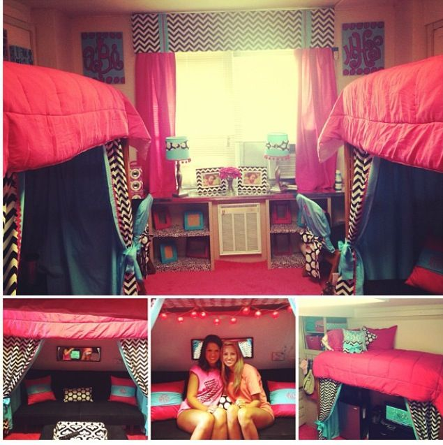 Dorm ideas for the home pinterest so cute pink blue Creative dorm room ideas
