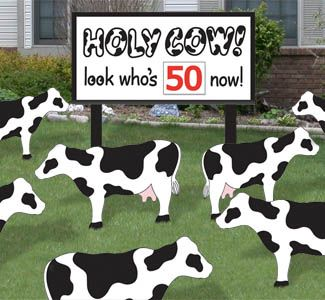 Holy Cow Birthday Woodcraft Pattern HOLY COW--Look who's 50 Now! Surprise your friends or family on major birthdays with a giant sign and a yard full of cows! #diy #woodcraftpatterns