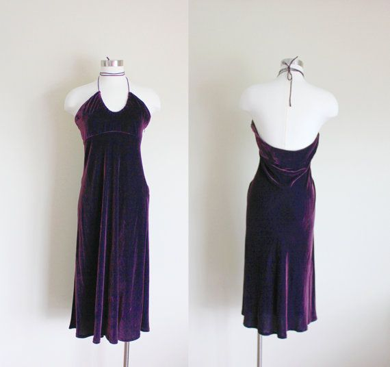 1990s Purple Velvet Empire Waist Halter Dress by apotheosisvintage