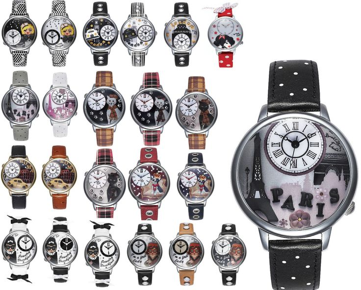 OROLOGIO DONNA BRACCIALINI TUA COLLECTION 3D STRASS PELLE WATCH PARIS LONDON