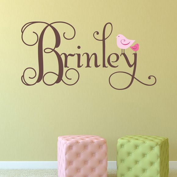 Adorable personalized wall decal for a child's room.