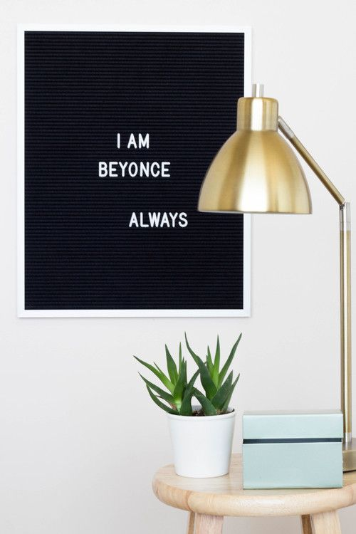 """""""I am Beyonce always."""" —Michael Scott, The Office.The 16"""" x 20"""" letter board is perfect for hanging quotes, lyrics, and words of motivation on any wall."""
