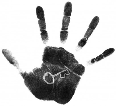 key on palm of hand - symbol/motif - could have signs/posters with this on it. Also, possible FOH ticketing idea.