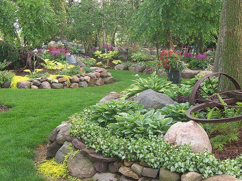 100_1666 Landscape Design,  Landscaping,Gardens,  Shade Garden,  Hostas, Perennials, Rock Garden, Wisconsin, Stone, Garden