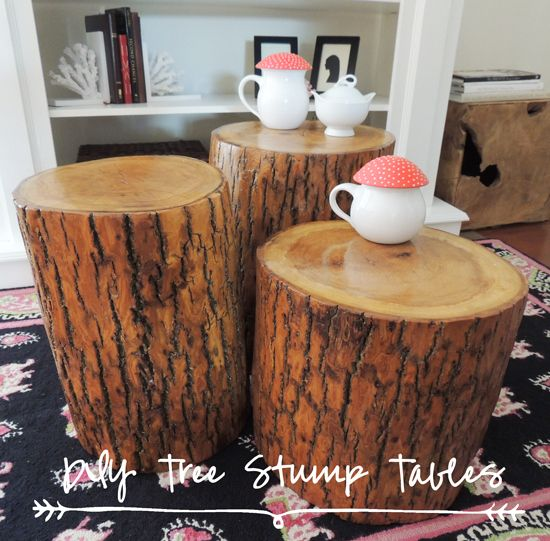 Bring the outdoors in easy diy make your own tree stump for Stump furniture making