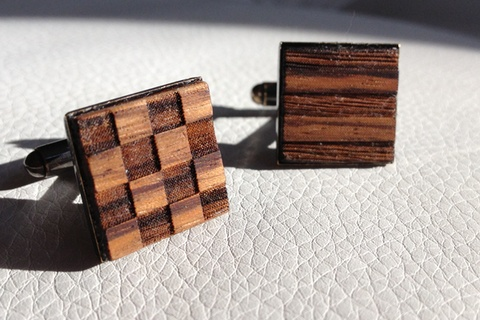 Cufflinks - Charlie November. Lasercut signal flags in Zebrawood and antique brass hardware with a gun metal finish $70