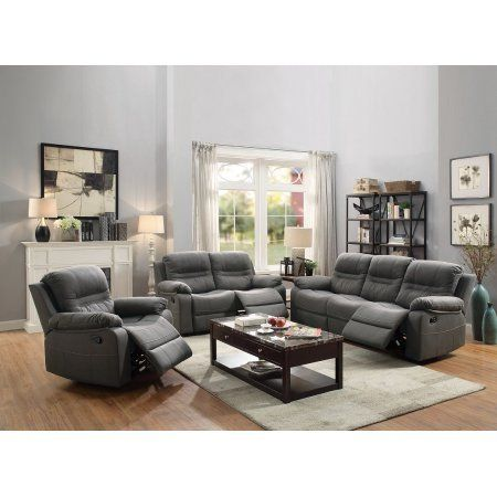 Reclining 3pc Sofa Set Motion Sofa Loveseat Recliner Chair Functional Plush Breathable Leatherette Slate Blue