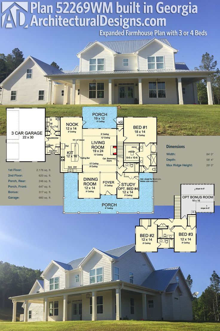 Architectural Designs Farmhouse Plan 52269WM has a wraparound porch and over 2,100 square feet of heated living space. Here, it is shown built by one of our clients in Georgia. Ready when you are. Where do YOU want to build?