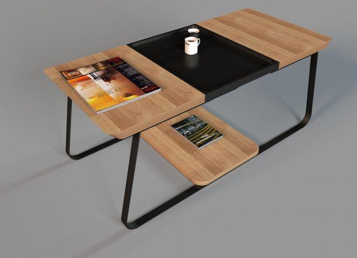 UPP è un tavolino da salotto dalle linee semplici. Un effetto di assoluta leggerezza viene data dalla struttura portante in metallo che sostiene il piano. La struttura di UPP è realizzata in metallo verniciato a polvere (Nero, Bianco), mentre il piano è in rovere. Il piano del tavolo presenta un vassoio estraibile in legno verniciato.