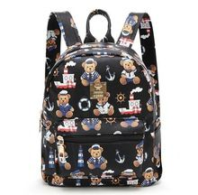 Fashion cartoon bear  rinting Backpack Black School Bags For Teenage Girls Small Backpack Women Leather Mochila Escolar H296