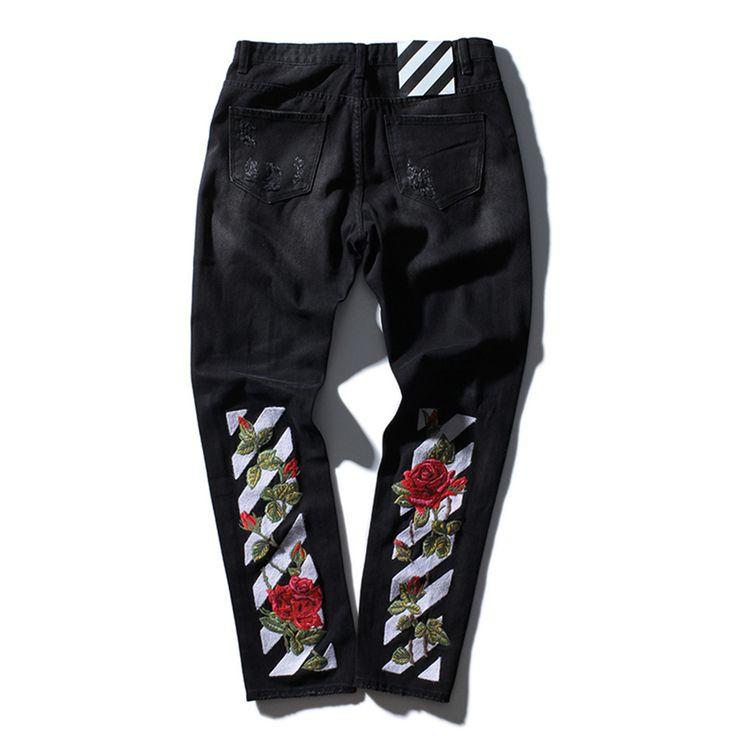 TOP qualité blanc broderie jeans Déchiré Denim Genou Trou Zipper hommes harem pantalons Détruits Déchiré la peur de dieu joggeurs Biker