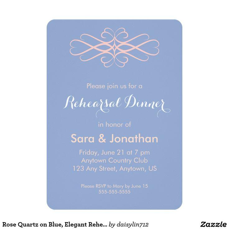 Rose Quartz on Blue, Elegant Rehearsal Dinner 5x7 Paper Invitation Card