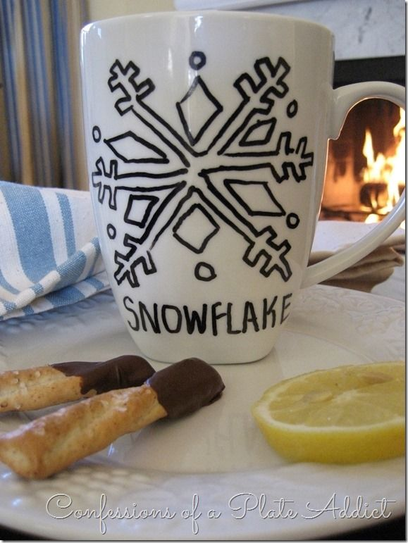 CONFESSIONS OF A PLATE ADDICT Creating a Cozy Home...DIY Sharpie Mugs Snowflake