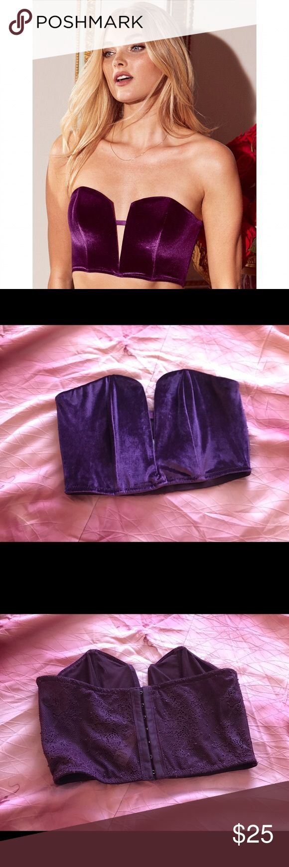 "Victoria's Secret Lace Velvet mini bustier super cute cropped bustier/ bralette, perfect with a high waist skirt for a going-out look :) has a lace back. plum / ""ruby wine"" color. fits 32-34 best Victoria's Secret Intimates & Sleepwear Bras"