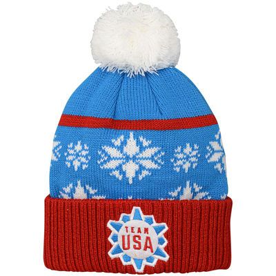 Men's Red/Blue Team USA Chunky Cuffed Knit Hat with Pom