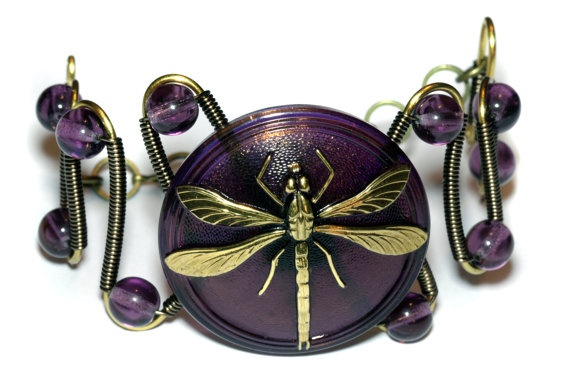 Quirky dragonfly bracelet - purple and antique gold