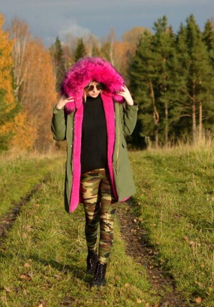 Raccoon Fur Hooded Parka Jacket Coat Women Outwear S Winter Warm Luxury Army New #RaccoonFurChina #Parka #Casual