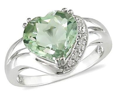 10k White Gold Green Amethyst and Diamond Heart Ring ►► http://www.gemstoneslist.com/jewelry/green-amethyst-rings.html?i=p