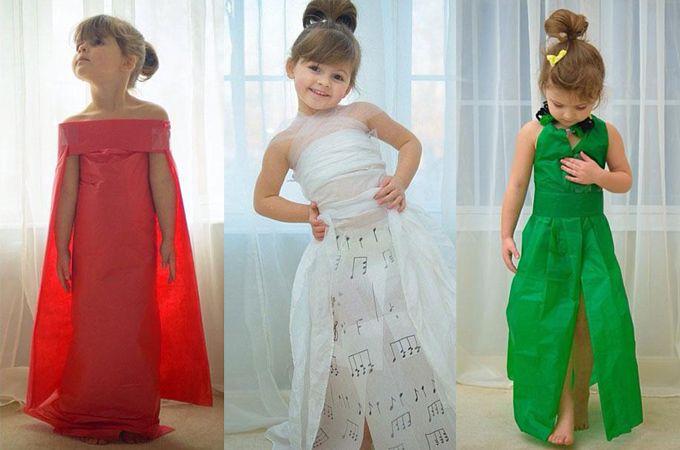 Moeder en 4-jarige dochter maken prachtige jurken van papier -  Creatief met…
