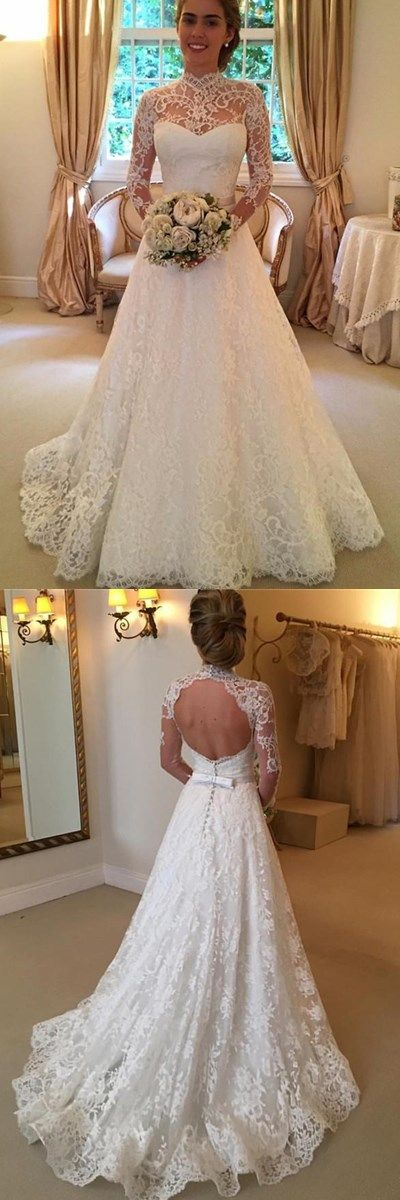 Elegant Lace A-line Long Sleeve High Neck Wedding Dresses