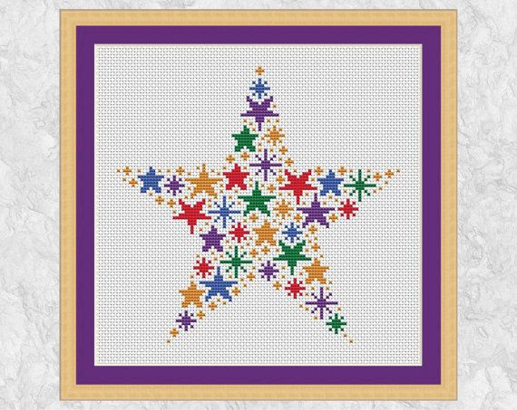 Rainbow stars cross stitch pattern, modern counted cross stitch chart PDF, simple, easy, quick, beginner, baby, girl, boy, magic, printable by Climbing Goat Designs