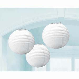 A24055/08 - White Lanterns - Pack of 3 Lanterns White Round (24cm Diameter) Paper - Pack of 3. Please note: approx. 14 day delivery time.