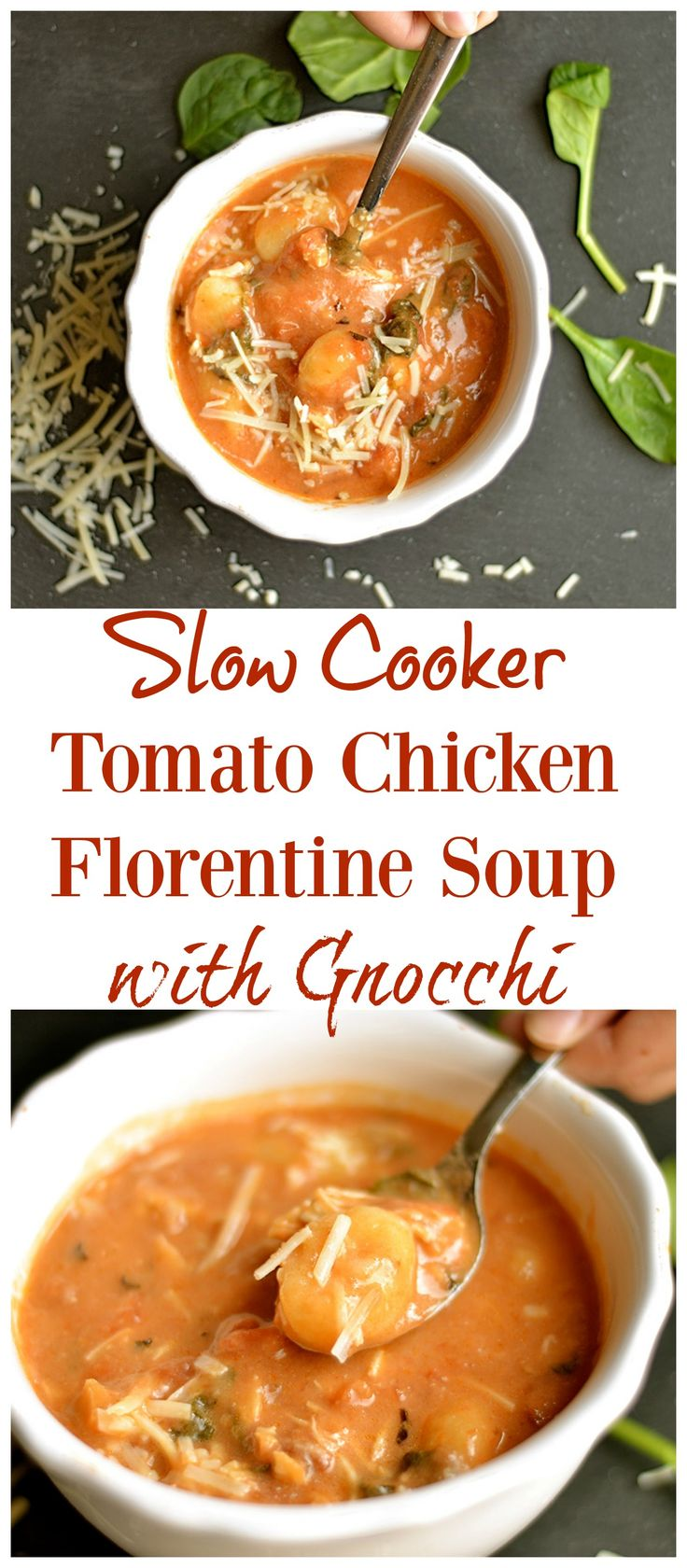 The EASIEST soup EVER!!! And it's so delicious!! A creamy tomato soup filled with garlic and herb flavor, fresh spinach, chicken, and gnocchi.