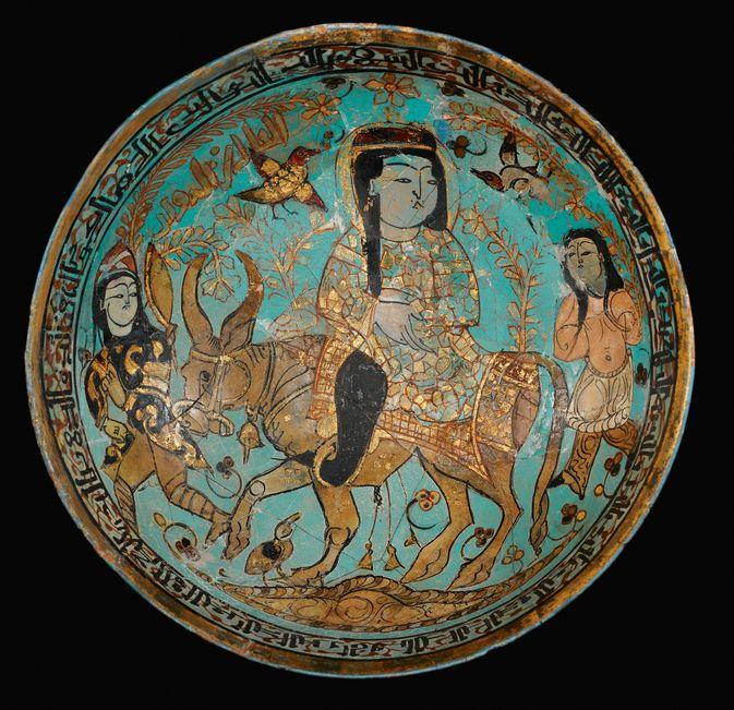 A rare Kashan Minai Bowl depicting Faridun, Kava and Zahhak, Persia, late 12thearly 13th century Satheby's Auction.