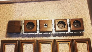 Фотографии - разное из дерева Комплект мини заказ, выключатели и розетки из тика. wood, teak, switchers, sockets