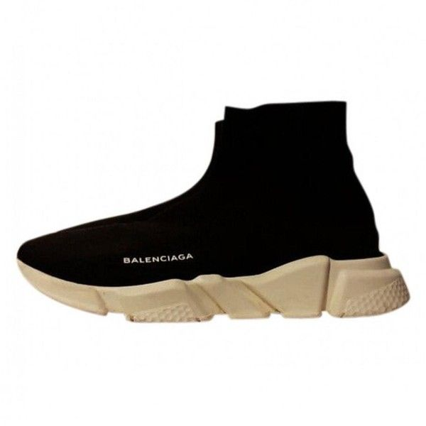 Cloth high trainers BALENCIAGA ($860) ❤ liked on Polyvore featuring shoes, sneakers, kohl shoes, balenciaga shoes, black trainers, black sneakers and black shoes
